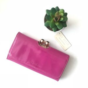 Ted Baker fuchsia patent leather wallet